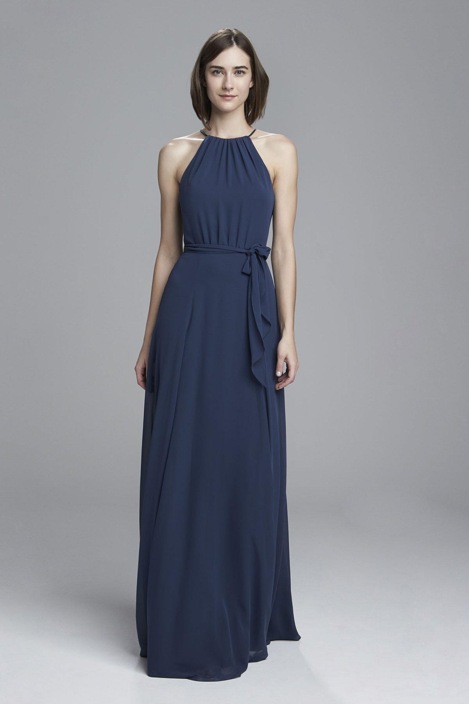 amsale blue bridesmaid dress