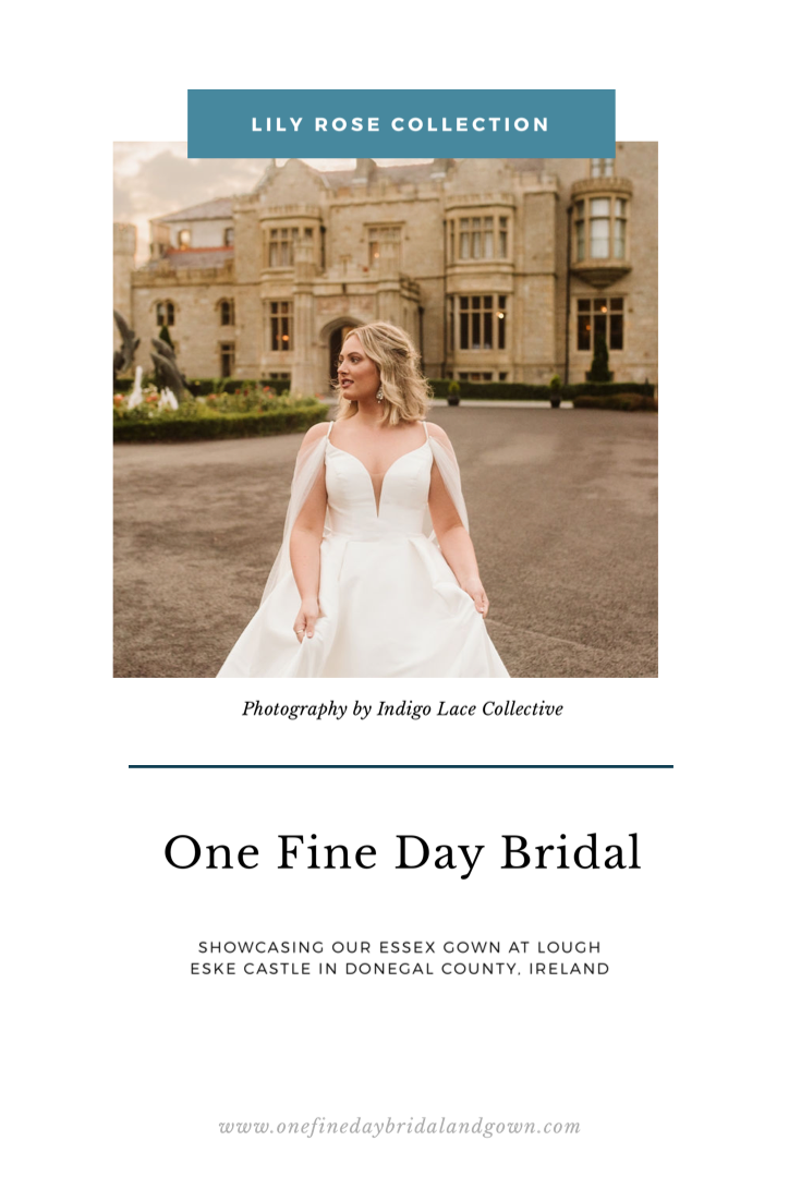 Pinterest cover of Essex gown photographed at Lough Eske Castle in Ireland