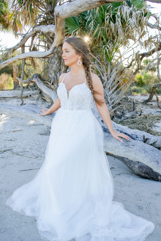 beaded lace and tulle aline wedding dress at driftwood beach