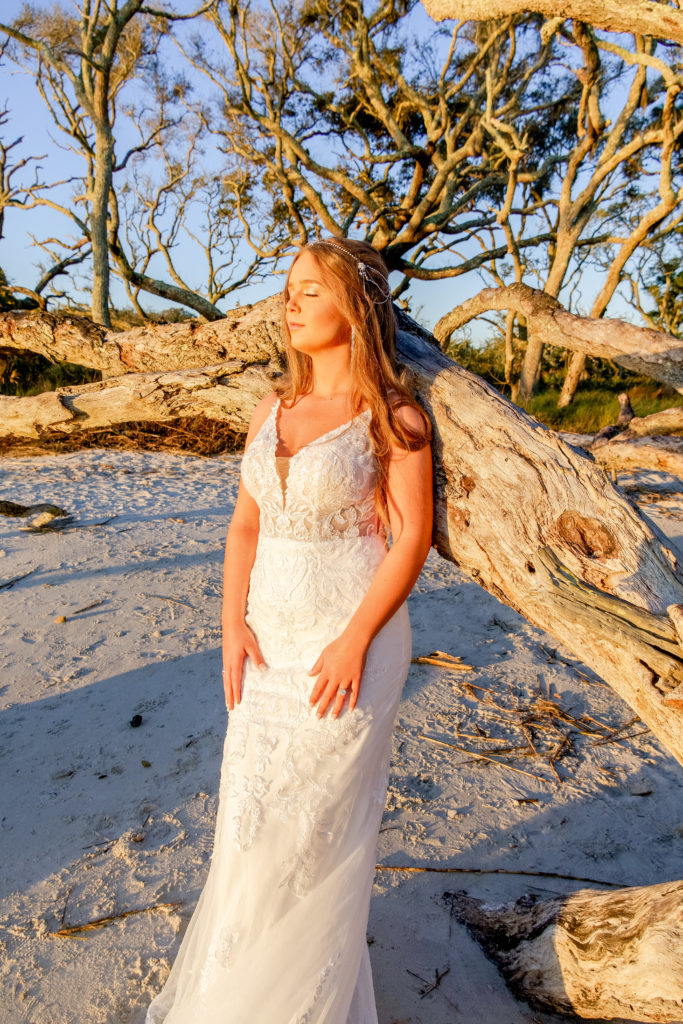 beaded fitted wedding dress on driftwood beach