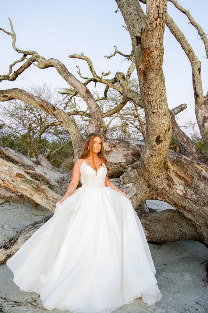 lace and organza ballgown wedding dress at driftwood beach