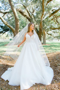 lace and organza ballgown wedding dress with tulle veil