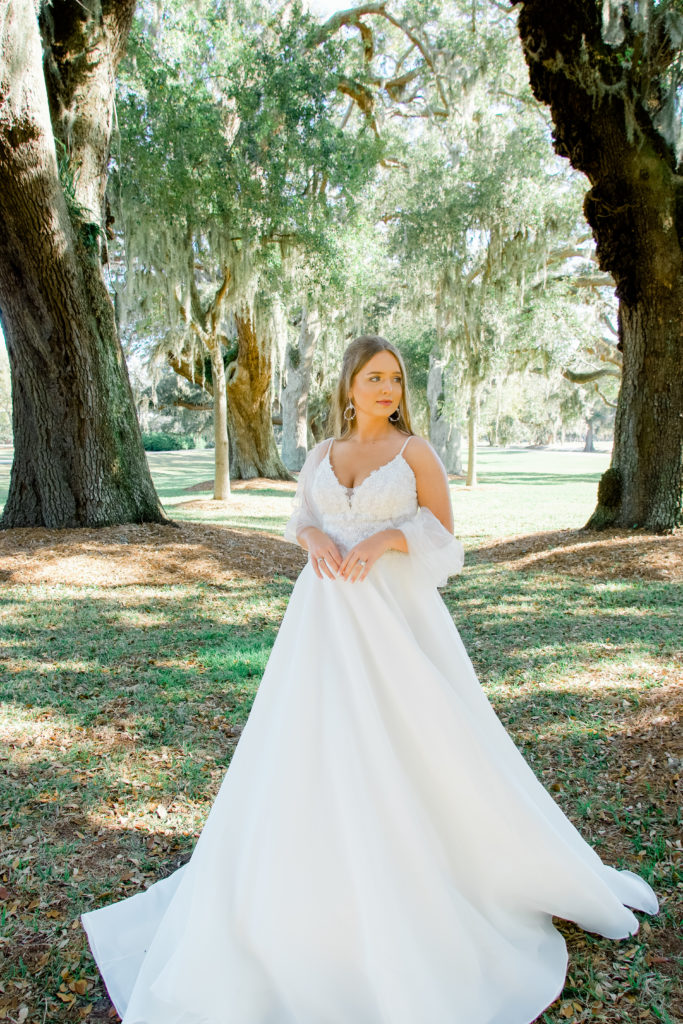 lace and organza ballgown wedding dress with tulle shawl