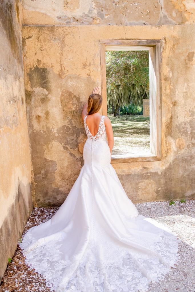 back of classic mermaid wedding dress