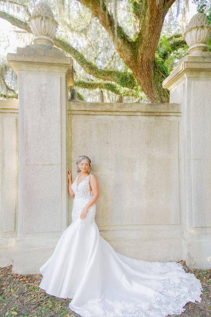 classic mermaid wedding dress with birdcage veil