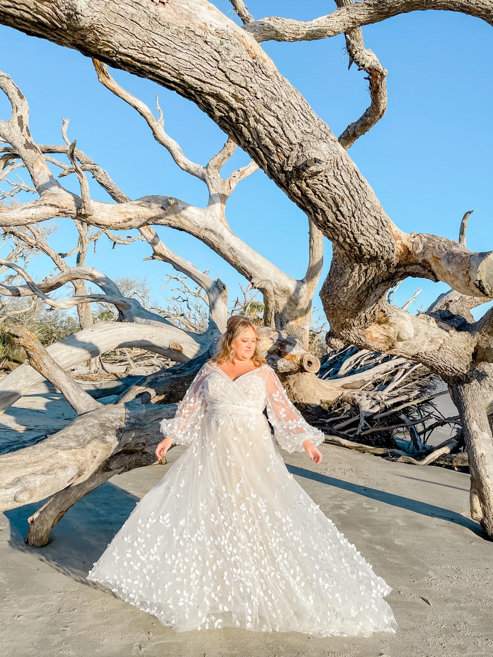 boho plus size wedding dress